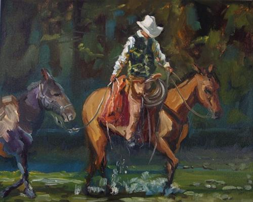 """Cowboy Burro Equine Run the River Art oil Painting D Whitehead Artoutwest"" original fine art by Diane Whitehead"