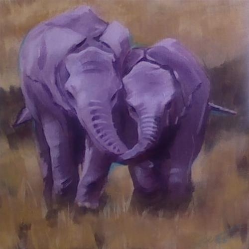 """BFFs"" original fine art by Bev Thibault"