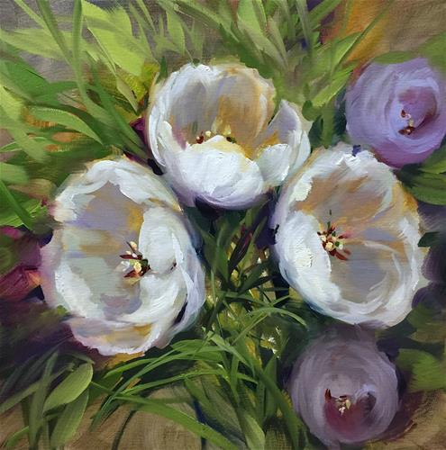 """A Free Tulip Video - Always Together White Tulips - Nancy Medina Videos and Art Classes"" original fine art by Nancy Medina"