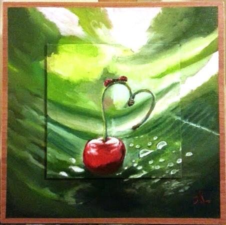 """Cherry Love"" original fine art by Konstantia Karletsa"