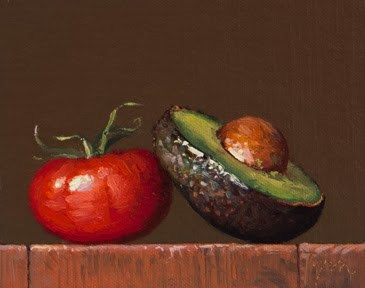 """Still Life with Vine Tomato & Avocado Half"" original fine art by Abbey Ryan"