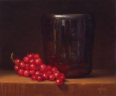 """""""Red Currants with Tea Bowl"""" original fine art by Abbey Ryan"""
