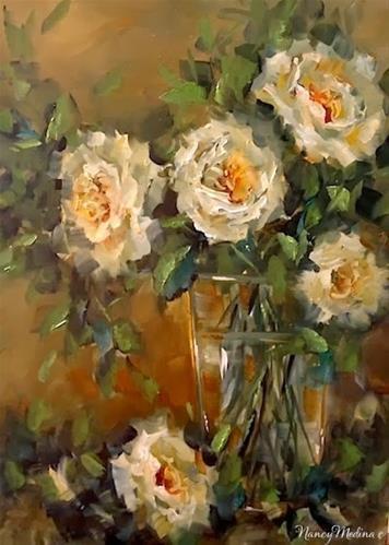 """Day 22 ~ Antique White Roses by Floral Artist Nancy Medina"" original fine art by Nancy Medina"