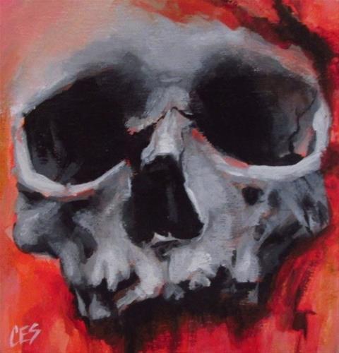 """Halloween Skull"" original fine art by ~ces~ Christine E. S. Code"