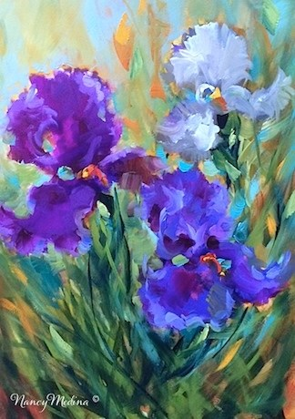 """Purple Splash Irises - Flower Paintings by Nancy Medina"" original fine art by Nancy Medina"