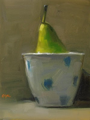 """Pear in a Cup --- SOLD"" original fine art by Carol Marine"