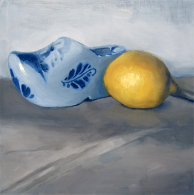 """Lemon and Handpainted Miniature Clog"" original fine art by Michael William"