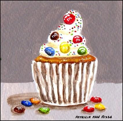"""M&M Cupcake"" original fine art by Patricia Ann Rizzo"