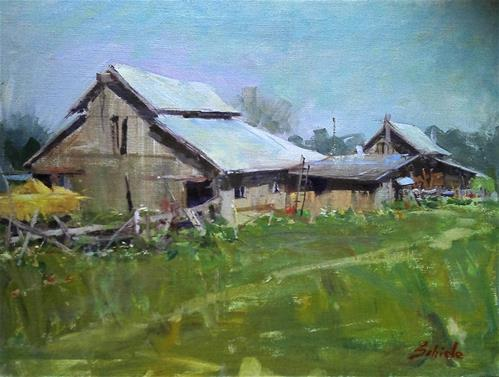 """farm scene"" original fine art by Richard Schiele"