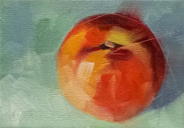 """Peach on Green"" original fine art by Cindy Haase"