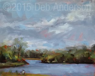 """Plein air oil painting: Beck Lake, Rain or Shine"" original fine art by Deb Anderson"