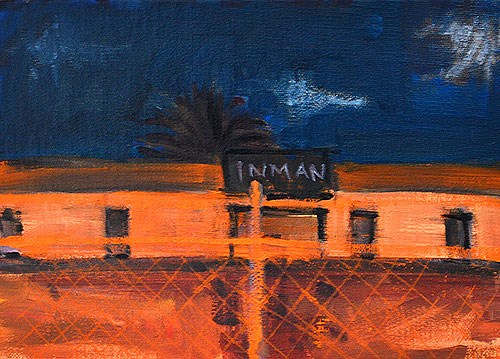 """Construction Site at Night Painting, San Diego"" original fine art by Kevin Inman"
