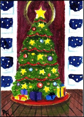 """ACEO Traditional Christmas Tree"" original fine art by Patricia Ann Rizzo"