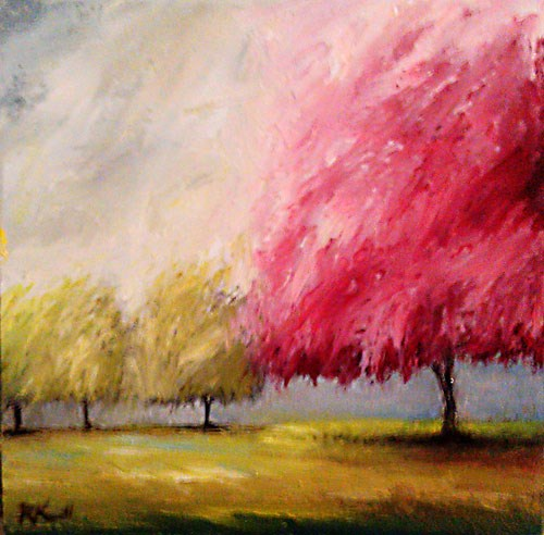 """Cherry Tree and Company"" original fine art by Bob Kimball"