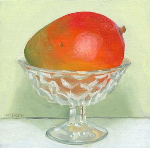 """Mango in Americana crystal cup"" original fine art by Jean Wilkey"
