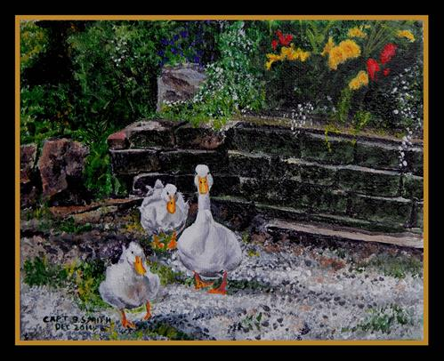 """Garden Ducks"" original fine art by Captain B Smith"