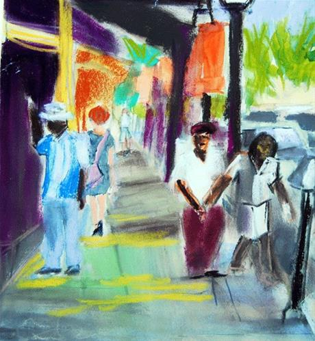 """A Stroll Through Town"" original fine art by Donna Crosby"