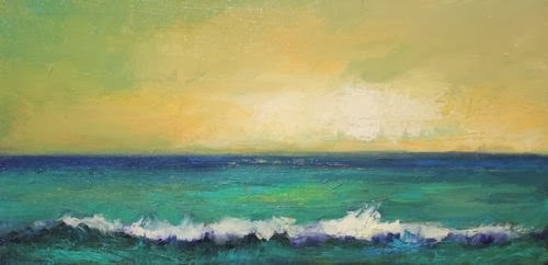 """Atlantic Breaking, Beach and Ocean Paintings by Arizona Artist Amy Whitehouse"" original fine art by Amy Whitehouse"
