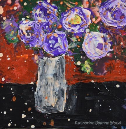 """Purple acrylic flower painting No 91"" original fine art by Katie Jeanne Wood"