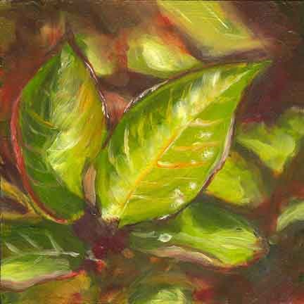 """""""Red and Green Leaves"""" original fine art by Kara Butler English"""