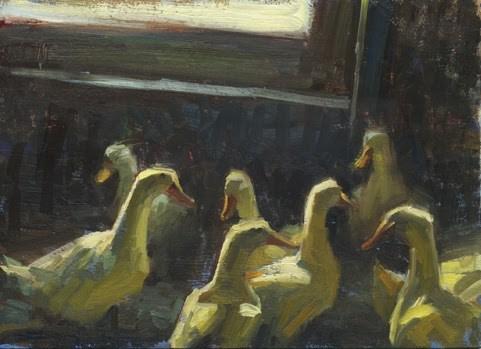 """Duck duck duck"" original fine art by Kathy Weber"