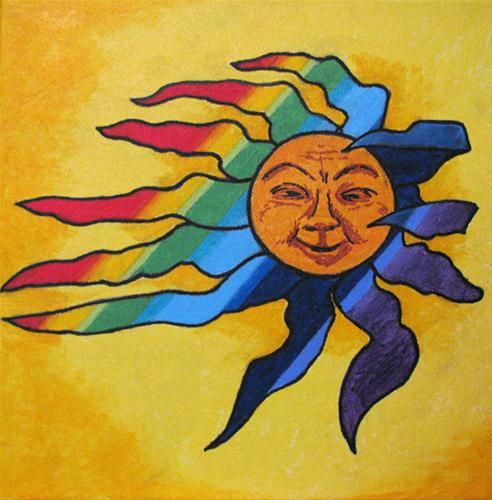 """Rainbow Sun"" original fine art by Nan Johnson"