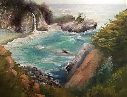 """""""McWay Falls, Big Sur, 11 x 14, Oil, Landscape"""" original fine art by Donna Pierce-Clark"""