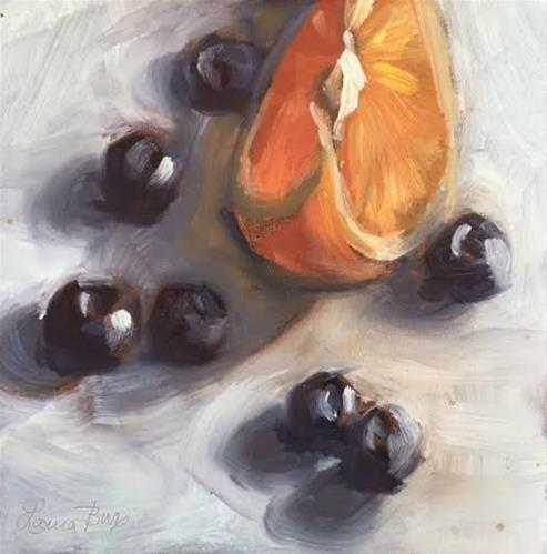 """Orange and Blueberries 475"" original fine art by Laura  Buxo"