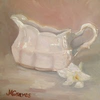 """White Gravy Boat and Lily"" original fine art by J H Graves"