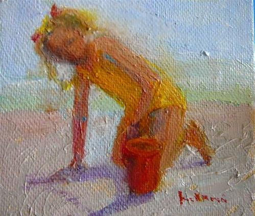 """Pony Tails & Pail"" original fine art by Jane Morac'E"