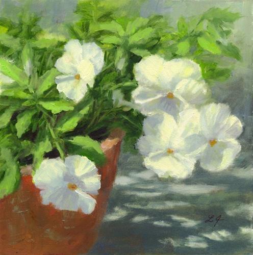 """Pansies in White"" original fine art by Linda Jacobus"