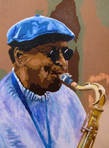 """Jazz Man"" original fine art by Nan Johnson"