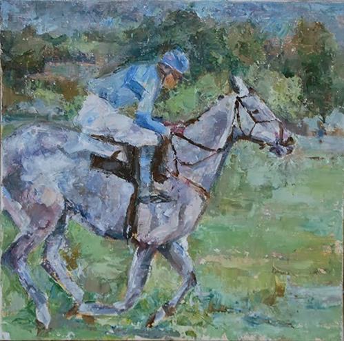 """Off to the Races"" original fine art by Carol DeMumbrum"