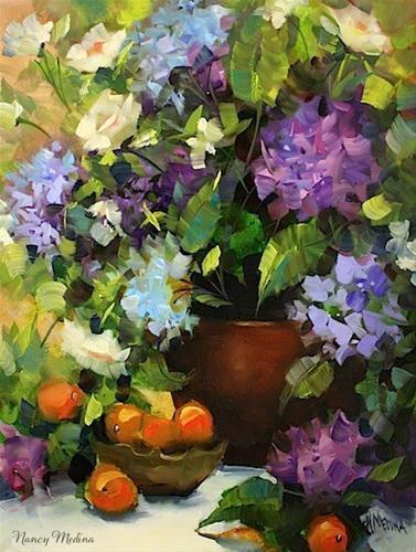 """Blue Tango Hydrangeas and Roses by Texas Flower Artist Nancy Medina"" original fine art by Nancy Medina"