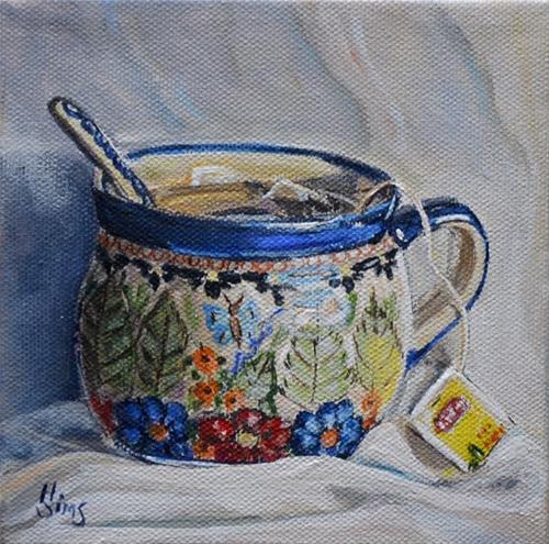"""Tea: Polish Pottery LXXVII"" original fine art by Heather Sims"