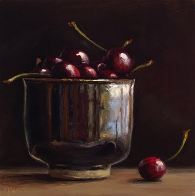 """Cup of Cherries"" original fine art by Abbey Ryan"