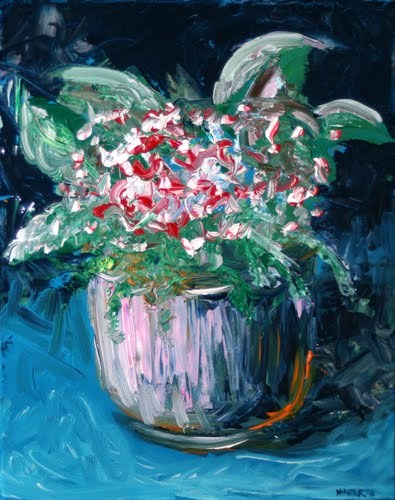 """Abstract Red Roses in Vase Acrylic Palette Knife Painting"" original fine art by Mark Webster"