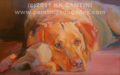 """Colby's Chewie"" original fine art by Kimberly Santini"