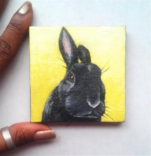 """""""Grumpy Black Bunny """" original fine art by Camille Morgan"""