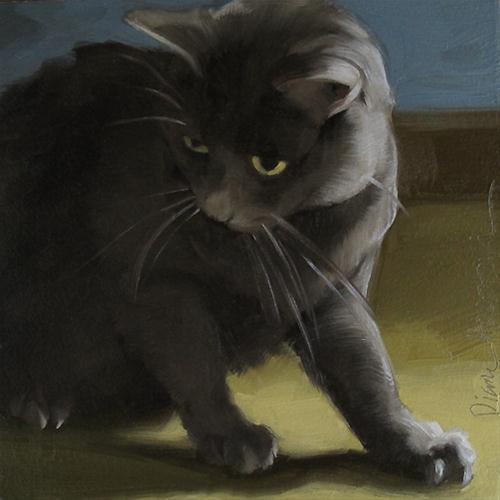 """House Cat painting of gray cat in shadow"" original fine art by Diane Hoeptner"