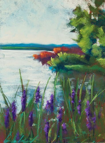 """White Rock Summer Bloom"" original fine art by Karen Vanderpool"