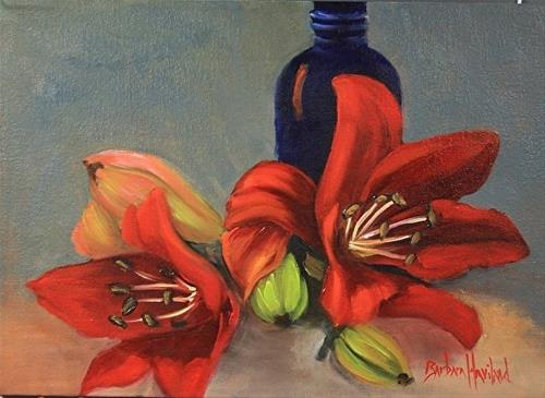"""Red Day Lilies"" original fine art by Barbara Haviland"