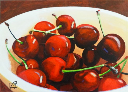 """Cherries III"" original fine art by Andre Beaulieu"