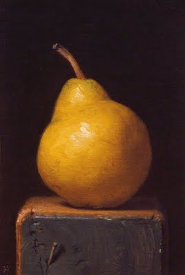 """Pear on a Wood Block"" original fine art by Abbey Ryan"