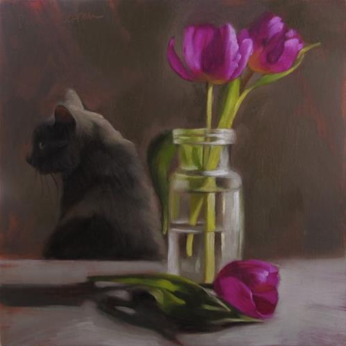 """Coco and Tulips, also How to Paint Clear Glass"" original fine art by Diane Hoeptner"