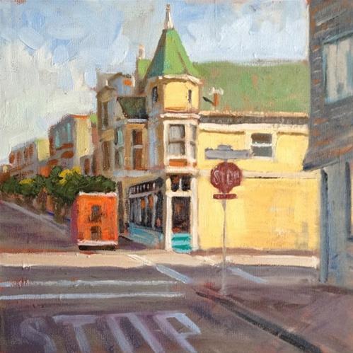 """Corner Market"" original fine art by Deborah Newman"