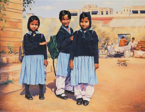 """Delhi Girls"" original fine art by Cheryl Plautz"