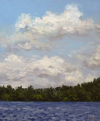 """Clouds over the Lake at Midday"" original fine art by Abbey Ryan"