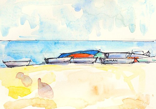 """Boats, Coronado Watercolor"" original fine art by Kevin Inman"