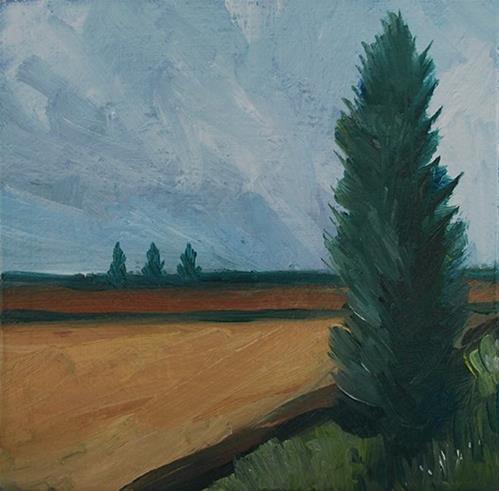 """""""Beside the Field"""" original fine art by J M Needham"""